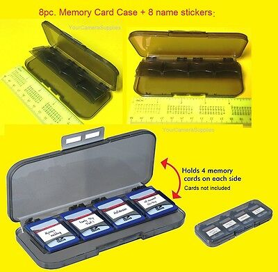8 PC. MEMORY CARD CASE HOLDER STORAGE for 8 SD/SDHC MEMORY CARDS