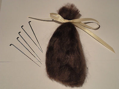 1/2 ounce brown soft  quality mohair & 5 rooting needles gauge 40