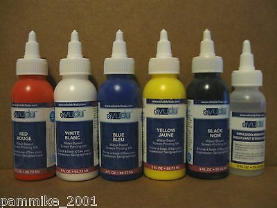 YUDU SCREEN PRINTING INK & EMULSION REMOVER LOT *BLACK BLUE RED WHITE YELLOW*