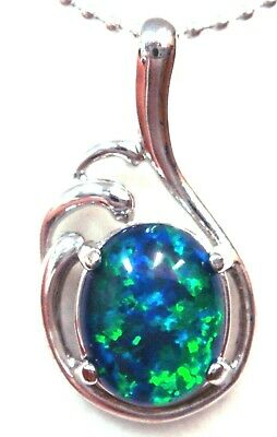 Australia Opal Natural Black Triplet Opal Pendant Solid Silver Set 7ct 23x13x5mm