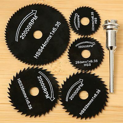 5Pcs HSS Saw Blades Cutting Discs Wheel W/1 Mandrel Rotary Tool Set for Power