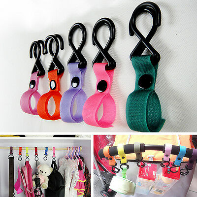 New Plastic Colorful Baby Stroller Pushchair Car Hanger 2 Hooks Strap