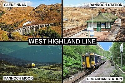 SOUVENIR FRIDGE MAGNET of THE WEST HIGHLAND LINE TRAIN SCOTLAND & GLENFINNAN