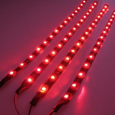 4x 30cm/15LED SMD 3528 Red Flexible Led Strip Light Waterproof DC 12V Car Auto