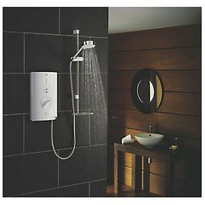 Mira Sport Max 10.8 KW With Airboost White Chrome Bathroom Electric Shower