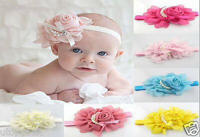 Cute Adorable Child Baby Girl Pearl Flower Bow headband Soft Elastic Hair Band