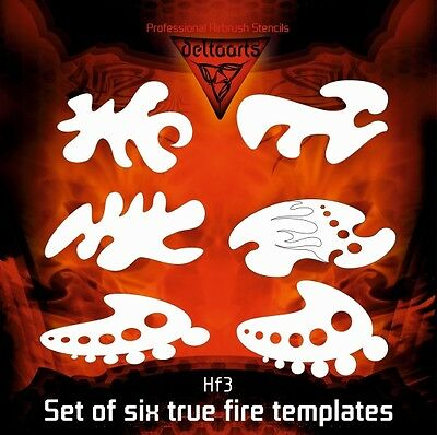 Airbrush stencil DELTAARTS Hell's Fire HF3 true fire templates set of 6 3 sizes