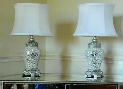 Pair of Table Lamps Antique Silver Sparkle Mosaic Base White Shade 46cm Height