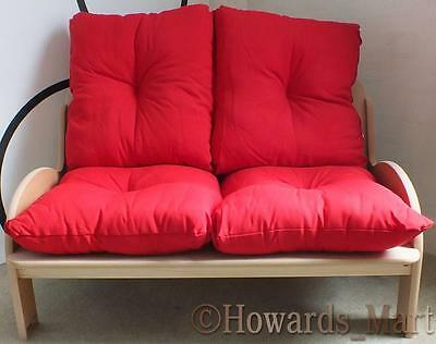 New Findel 2 Seater Childrens Kids Childs Comfy Sofa Settee With Red Cushions