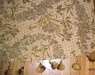 French 19th c.cotton & silk brocade fabric/panel silk verigated bobbles~