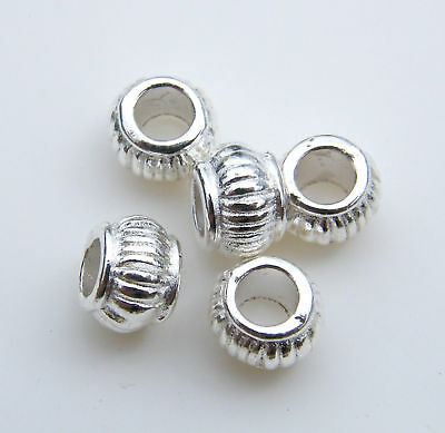 100pcs 5x7mm Metal Alloy Keg Spacer Beads - Bright Silver