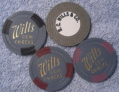 3 Wills Gem Checks + 1 Tri heavy sample poker chips