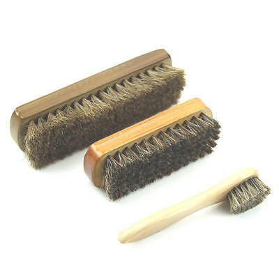 3 Size XY Wood Horse Hair Bristles Shoe Polish Buffing Brush Boot Care Clean Wax