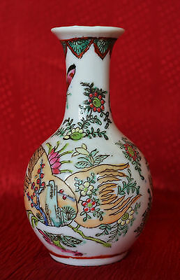 Rare Antique Chinese Porcelain Vase Hand Painted Famille Rose Tongzhi  Hallmark
