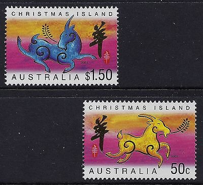 2003 Christmas Island Zodiac: Year Of The Goat Set Of 2 Fine Mint Mnh/muh