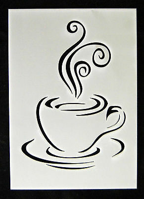 Reusable Coffee Cup Airbrush Painting Stencil Sign Wall Door Floor Pavement