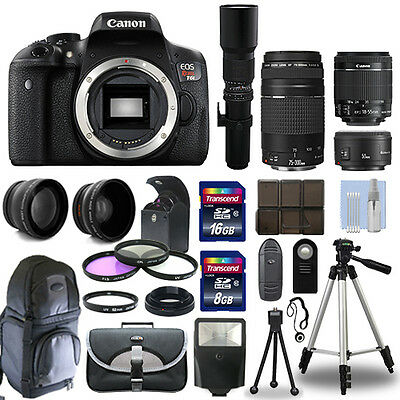 Canon EOS Rebel T6I / 750D + 6 Lens 18-55 STM, 75-300, 50, 500 + 24GB PRO KIT!