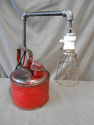 Industrial Machine Age Steampunk Rat Rod Repurposed Reclaimed Gas Can Lamp