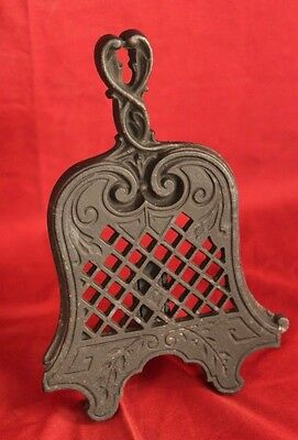 Victorian  C 1850's Antique Black Cast Iron Fire Front Trivet