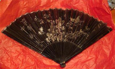 1912 Lacquer Hand Painted Chinese Fan Calligraphy Birds Flowers Quality Antique
