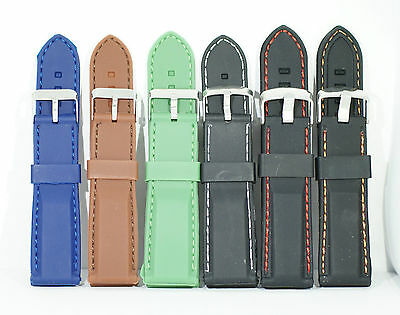 Silicone rubber watch strap Stitched Fits many smartwatches
