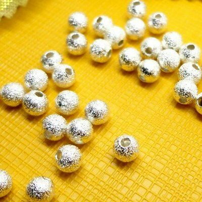 100pcs Spacer Beads Findings Stardust Silver Plated Base Round 4mm for Making PK