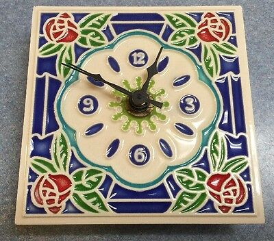 Vietri pottery-4x4 Inch Wall Clock With Roses.Made/painted by hand in Italy