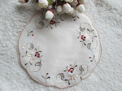Wholesale lot 6pcs  embroidered Doilies Placemat cuppad 19cm 7.6inch