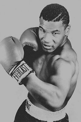 """Mike Tyson The Champion Boxer Boxing Silk Poster Vintage 24x36"""" Black and White"""