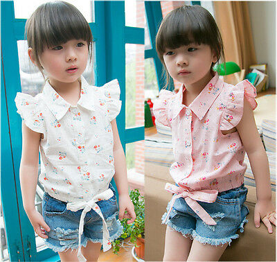 Summer Toddler Baby Girls  Fly Sleeve Bow Hem Flower Tops Blouse Shirt 2-7Y