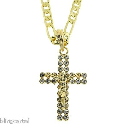 """Jesus Piece Crucifix Gold Plated Cross Pendant 24"""" Inch Figaro Chain Necklace"""