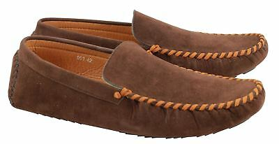 Mens Faux Suede Leather Brown Morden Drivers Moccasin Slip on Summer Flat Shoes