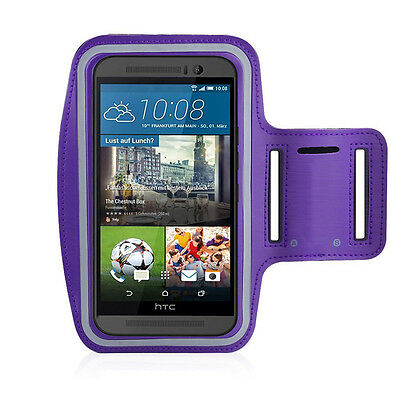 HTC One M9 Purple Sports Fitness Running Armband Tie Adjustable