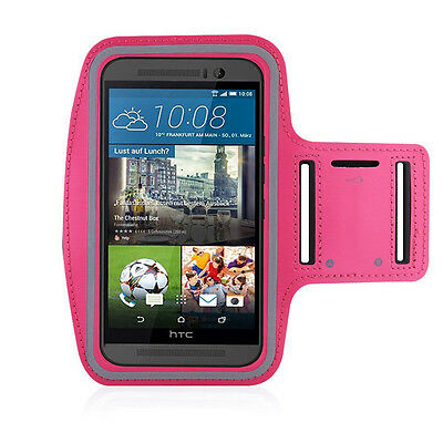 HTC One M9 Hot Pink Sports Fitness Running Armband Tie Adjustable