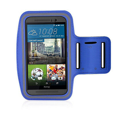 HTC One M9 Dark Blue Sports Fitness Running Armband Tie Adjustable