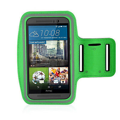 HTC One M9 Green Sports Fitness Running Armband Tie Adjustable