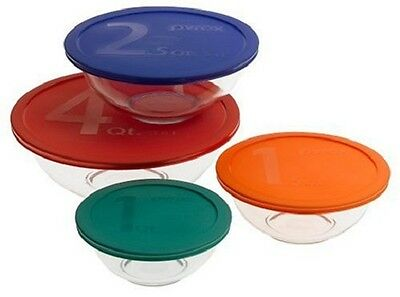 Pyrex 8-Piece Mixing Glass Bowl Set w/ Colored Lids Storage Serving Container