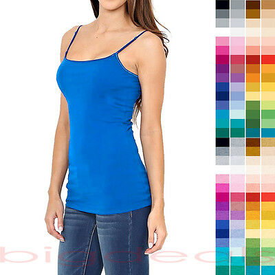 Solid Color Long Cami Tank Top Plain Basic Layering Stretch Tee Shirt Tunic 5000