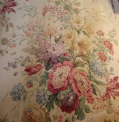 """Colefax & Fowler  Red Green """"berrington"""" Printed Floral Union Cloth Fabric"""