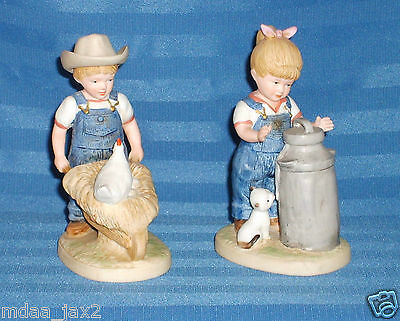 Home Interior & Gifts #1501 Debbie and Danny 1985 Denim Day Morning Chores Set