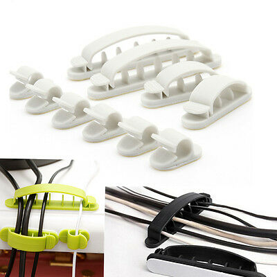 HOAU 10pcs Cable Cord Wire Line Organizer Plastic Clips Ties Fixer Fastener