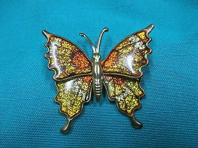 VINTAGE ESTATE GOLD TONE YELLOW BUTTERFLY PIN / BROOCH