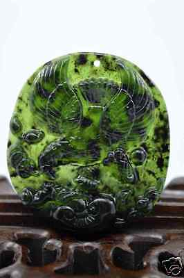 100% China's natural  jade nephrite carving black jade pendant Eagle 大展宏图