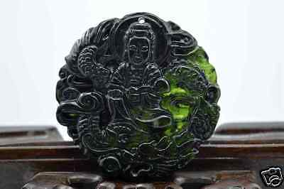 100% China's natural  jade nephrite carving black jade pendant Dragon guanyin