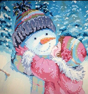 A Kiss For Snowman Counted Cross Stitch Pattern
