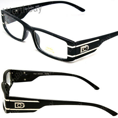 new mens womens dg clear lens frames black glasses rectangular rx nerdy optical