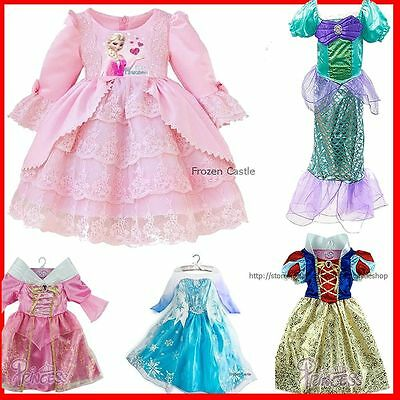 Princess Elsa Anna Dresses Kids Costume Girls Party Cloth Dress Disney Frozen
