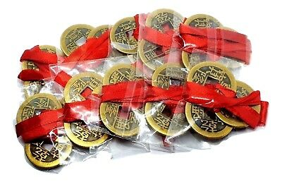 Feng Shui Coins Lucky Chinese I-Ching 23mm Set of 3, Red Ribbon I Ching 10 x Lot