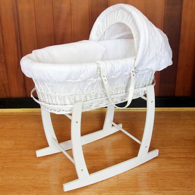 White Baby Wicker Bassinet w/Head to Toe Rocking Stand and Waffle Bedding 8161W
