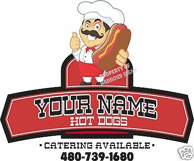 "Custom (up to 8 letters) Hot Dogs 36"" Decal Concession Restaurant Food Truck"